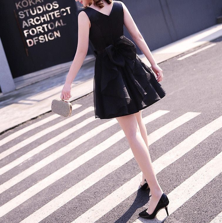 #1334 Solid Colour V Back Skater Mini dress with Organza Band and Bow