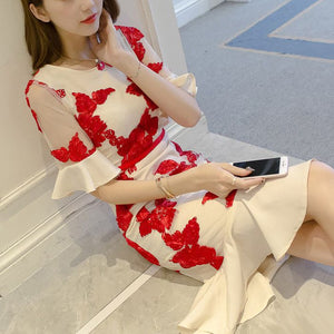 #1434 Band Floral Embroider Tulle Dress with Fluted Sleeves & Fluted Hem