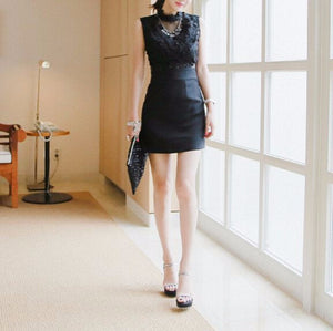 MY0047 High Neck Bodycon Embroidered Mini Dress