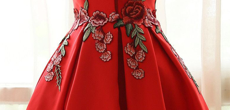 #1218 Floral Embroidered Pleated Mini Dress with Keyhole