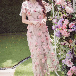 MY0035 Fluted Sleeves 3D Floral Embroidered Mesh A-line Midi Dress