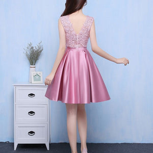 #1377 Pleat in Embellished Metallic Lace Mini Dress with Band and Bow
