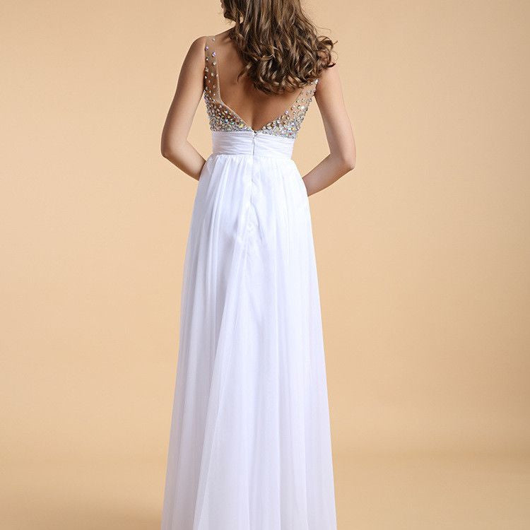 #1362 Sweetheart Neck in Pearl stones Embroidered Organza Maxi Dress with V Back