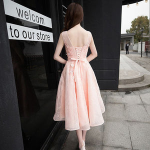 #1349 Round Neck Skater in Floral Beads Embroidered Organza Midi Dress with Band & Bow
