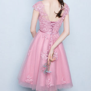 #1211 Floral Embroidered Crochet Lace Midi Dress with Cap Sleeves