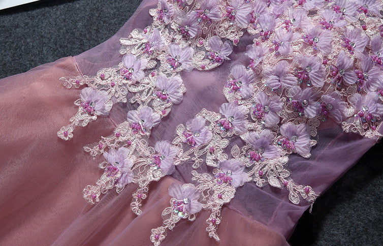 #1456 V Neck Double Layer Mini Dress with 3D Sequin Embellishment