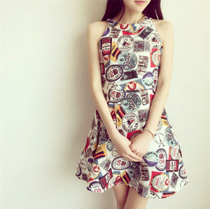 MY0072 Printed Skater Mini Dress with Cold Shoulder