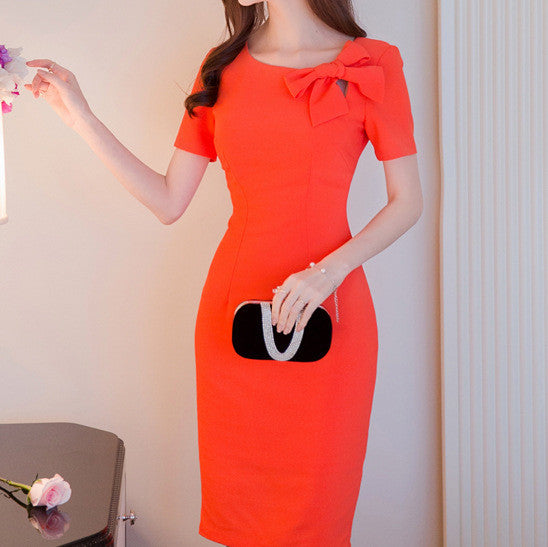 MY0054 Short Sleeves Bodycon Mini Dress with Left-side Bow