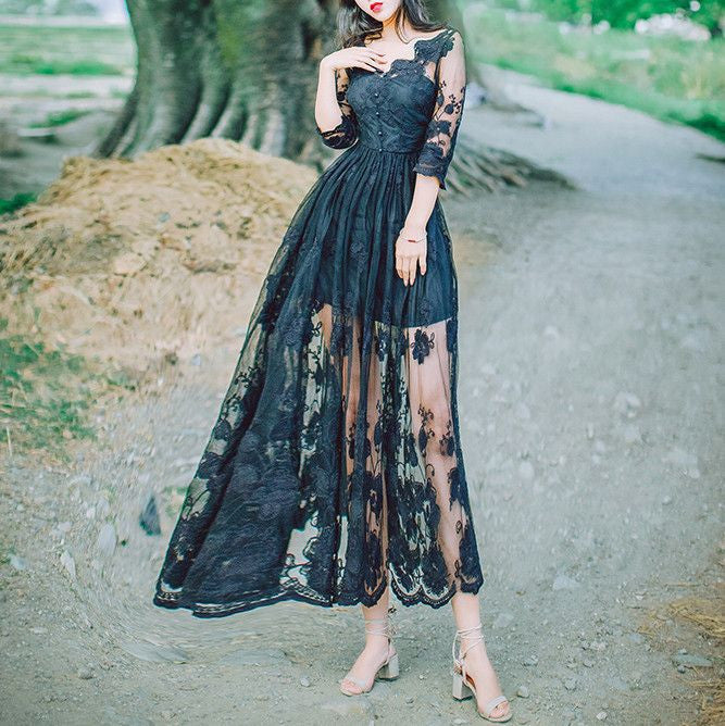 MY0027 V Neck Sheer Maxi Dress in Embroidered Lace