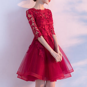#1452 Two Layers Skater Mini Dress with Crochet Lace