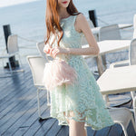 MY0050 Skater with Hi Low Hem in Embroidered Flower Lace Mini Dress