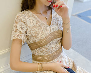 #1416 A-line Embellish Metallic Lace with Fluted Hem Mini Dress