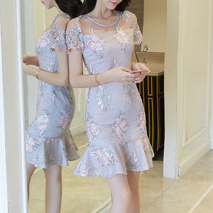 #1408 Bodycon in Floral Embroidered Organza Mini Dress with Fluted Hem