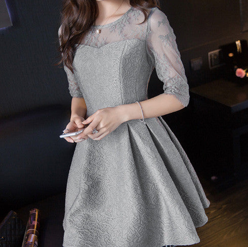 #1197 Floral Embellished Sheer Skater Mini Dress in ¾ Sleeves