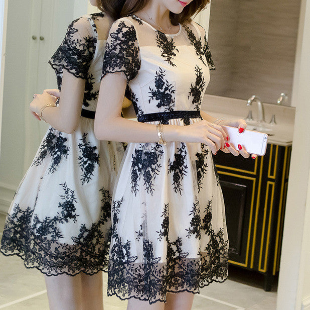 #1418 Band Floral Embroidered Organza Mini Dress with Broderie Hem