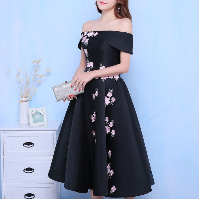 #1346 Bardot Neckline Skater in Floral Embroidered Satin Midi Dress