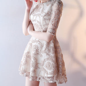 #1454 Embroidered Long Sleeves Skater Mini Dress