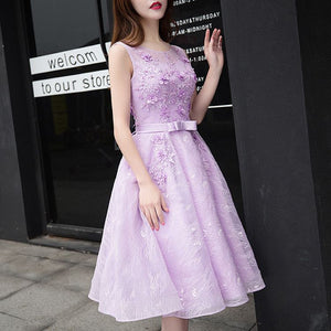 #1345 Skater in Embroidered Lace Midi Dress with 3D Floral Embellishment