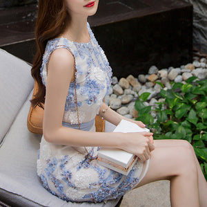 MY0052 Floral Print Bodycon Sleeveless Mini Dress with Round Neck