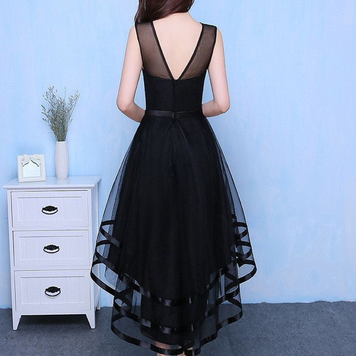 #1384 A-Line V Back Hi Low Hem Midi Dress with Ribbon Tulle