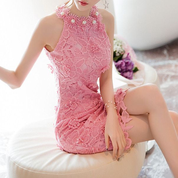 MY0051 Halter Neck Embroidered Chemise Mini Dress in Crochet Lace