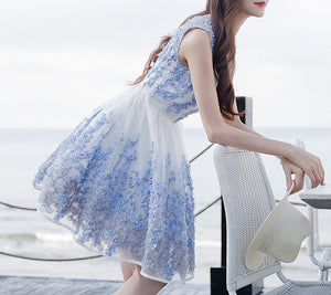 MY0049 Sleeveless Floral Print A-line Mini Dress with Round Neck