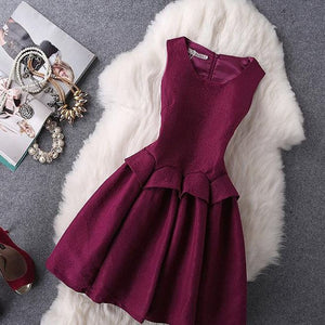 #1184 Round Neck Solid Color Skater Dress