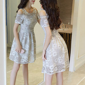 #1410 Cold Shoulder in Floral Embroidered Organza Mini Dress