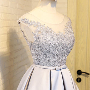 #1207 Floral Embroidered Organza and Satin Skater Mini Dress with Bow