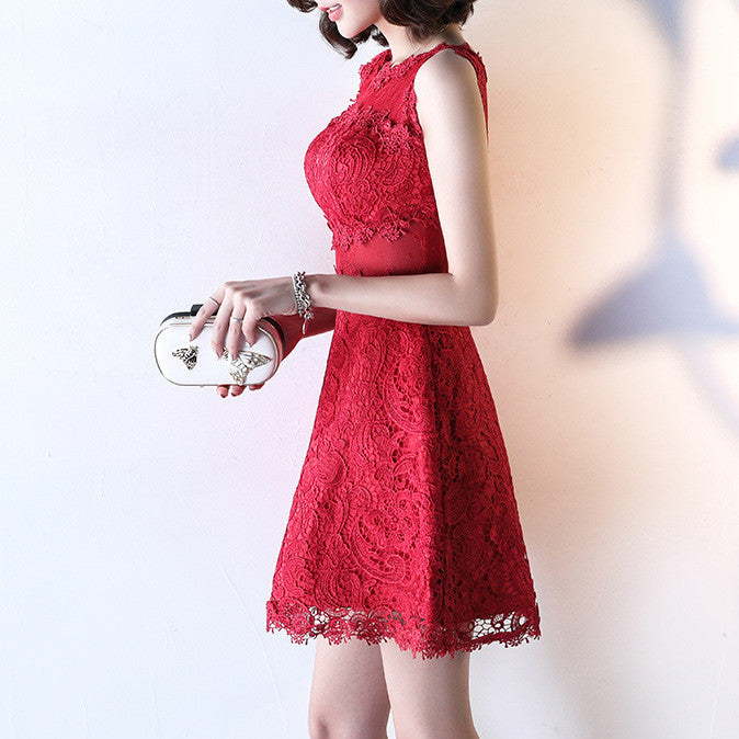 #1463 Crochet Lace Mini Dress