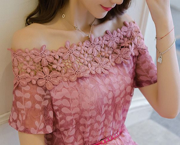#1422 Bardot Lace A-line in Embroidered Organza Dress with Fluted Hem