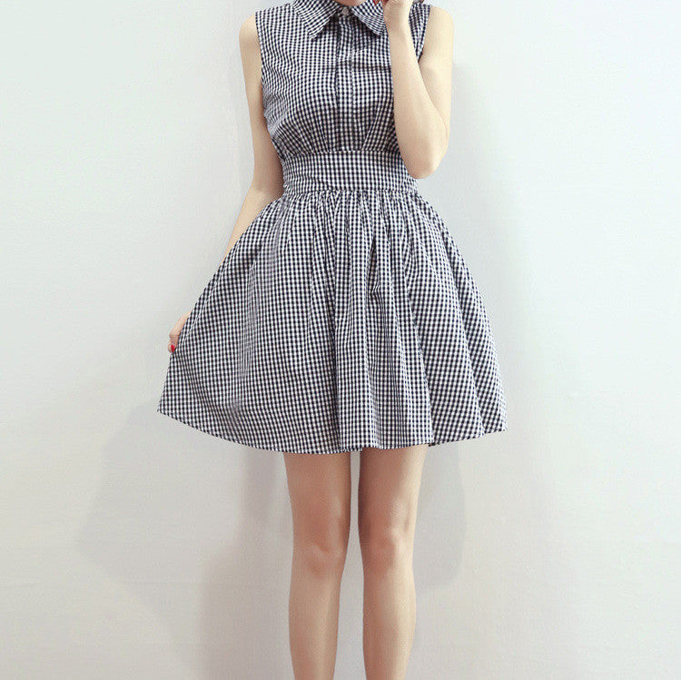 MY0076 Skater Mini Dress with Lapel Collar in Check