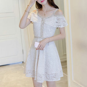 #1415 Sweetheart Neck Cold Shoulder A-line Mini Dress in Embellish Metallic Lace