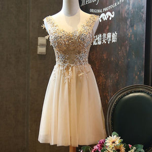 #1217 V Neck Floral Embroidered Organza with Beads Mini Dress