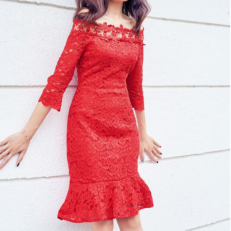 #1402 Bardot A-line Solid Colour in Floral Embroidered Lace Mini Dress with Fluted Hem