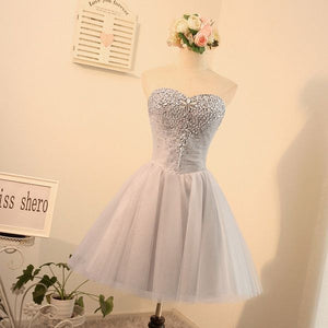 #1308 Strapless Embroidered Organza with Beads Mini Dress