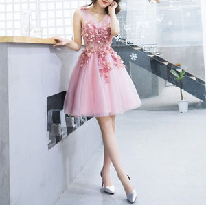 #1328 V Neck Skater in Embroidered Organza Mini Dress with 3D Floral Embellishment