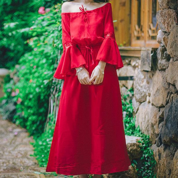 MY0028 Off Shoulder Flare Sleeve Solid Color Midi Dress with Bow