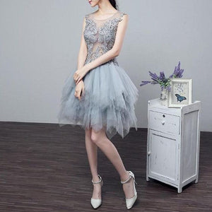 #1357 Floral Embroidered Tulle Ruffle Layer Mini Dress