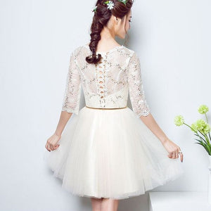 #1252 Round Neck Floral Embroidered Skater Mini Dress with Belt