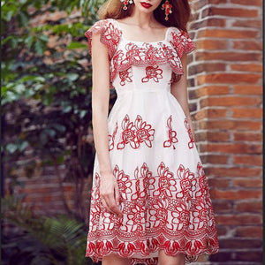 #1406 Square Neck Lotus Sleeves Pleated Mini Dress in Floral Embroidered Needle & Thread Tulle
