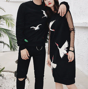 #M0018 Knit Sweater & Jumper Dress in Bird Pattern Match Outfit
