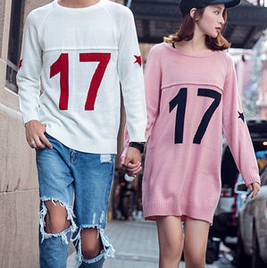 M0021 Loose Knit Sweater & Jumper Dress in Print Match Outfit