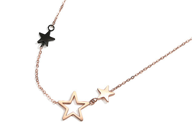 #N0008 Three Little Stars Rose Gold Necklace