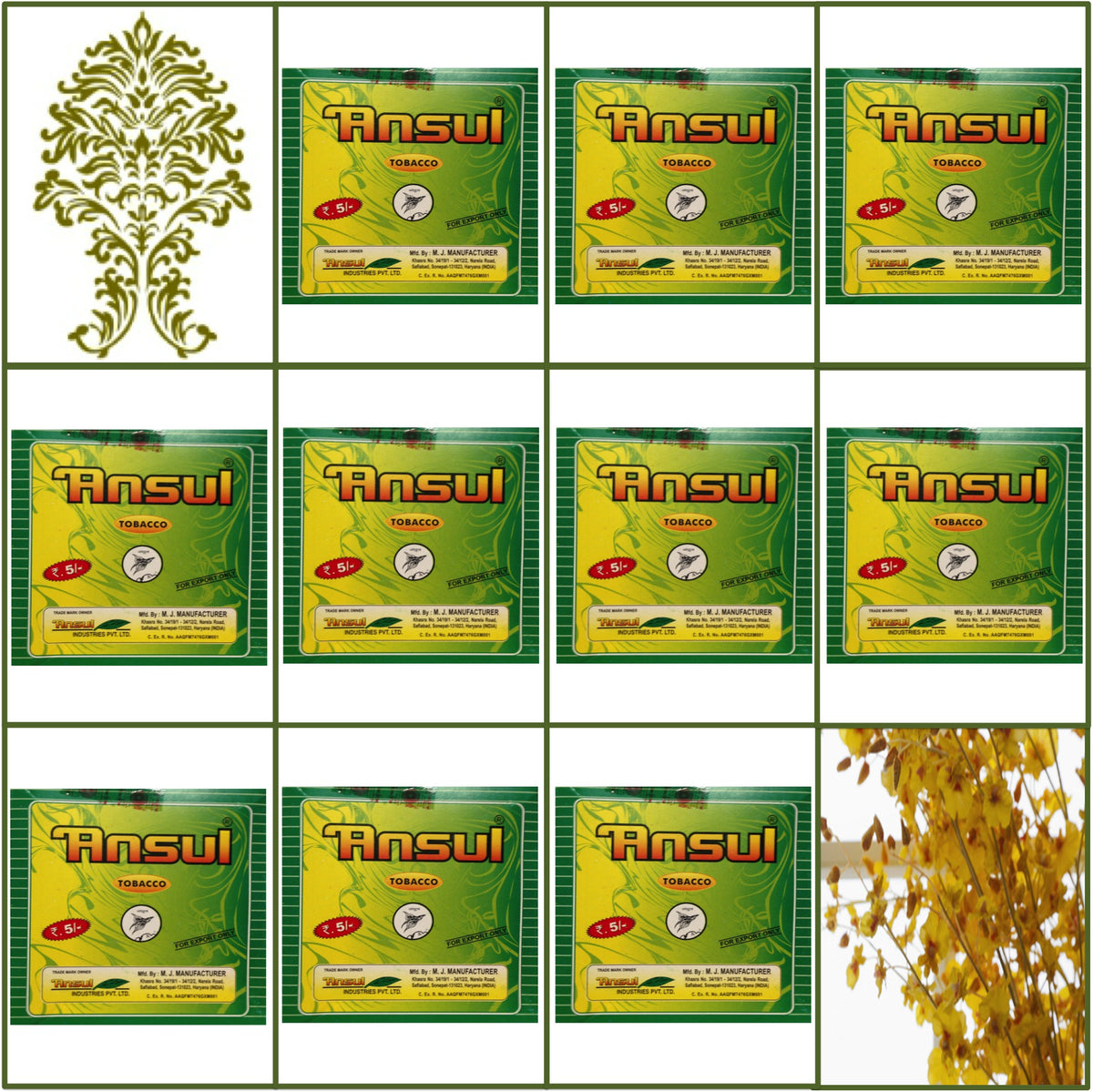10 Boxes Ansul Tobacco 12 x 13g Each