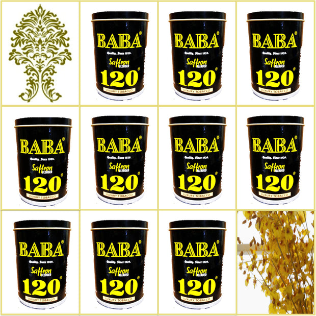 10 Cans Baba 120 Saffron Blended Luxury Tobacco 50g Each January 2020