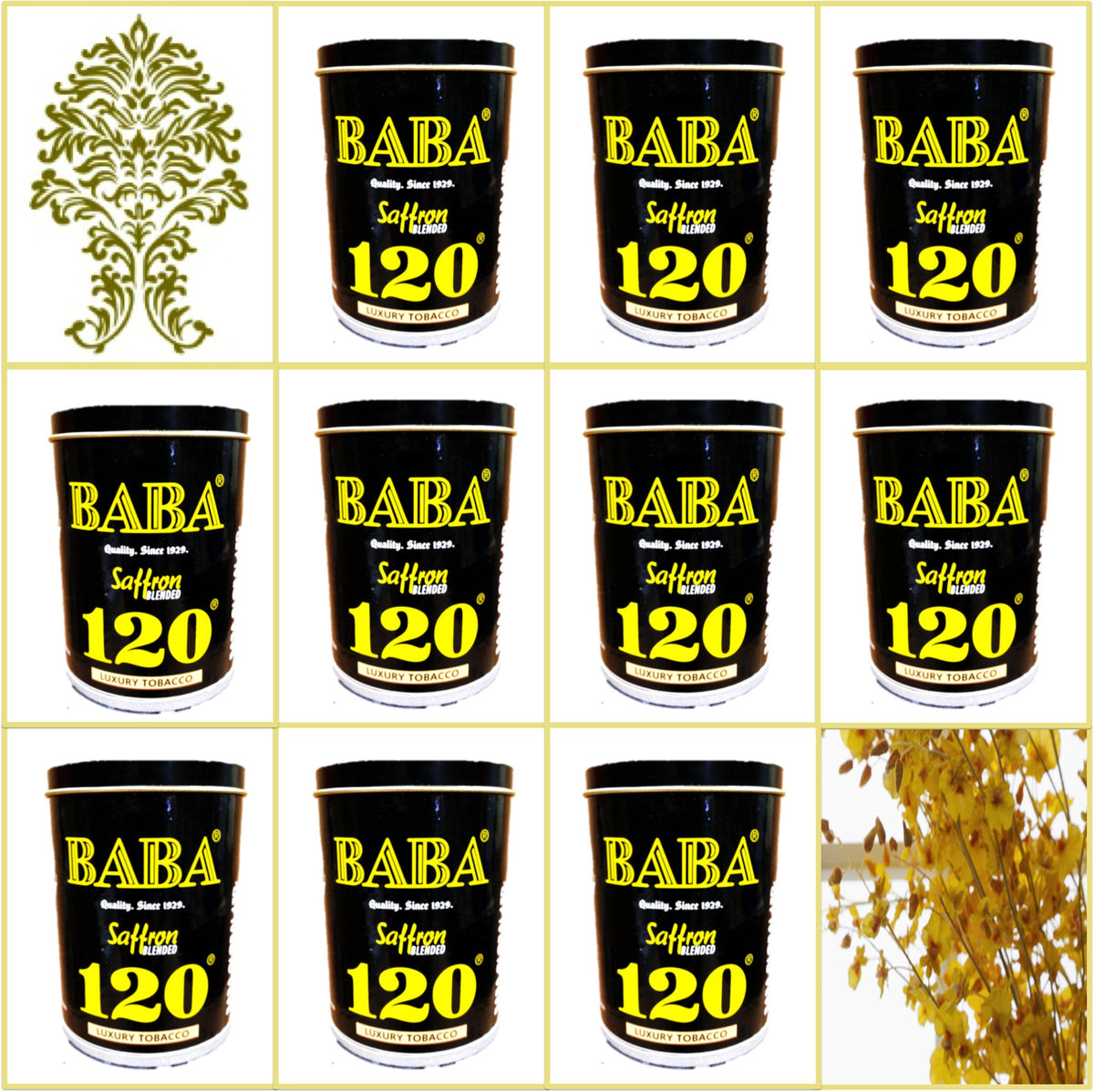 10 Cans Baba 120 Saffron Blended Luxury Tobacco 50g Each September 2019