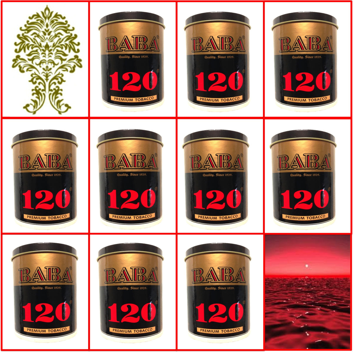 10 Cans Baba 120 (Silver) Premium Tobacco 50g Each October 2020