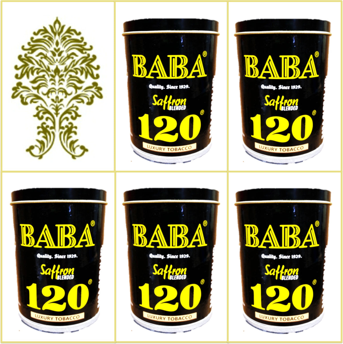 5 Cans Baba 120 Saffron Blended Luxury Tobacco 50g Each January 2020