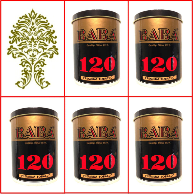 5 Cans Baba 120 (Silver) Premium Tobacco 50g Ea September 2019